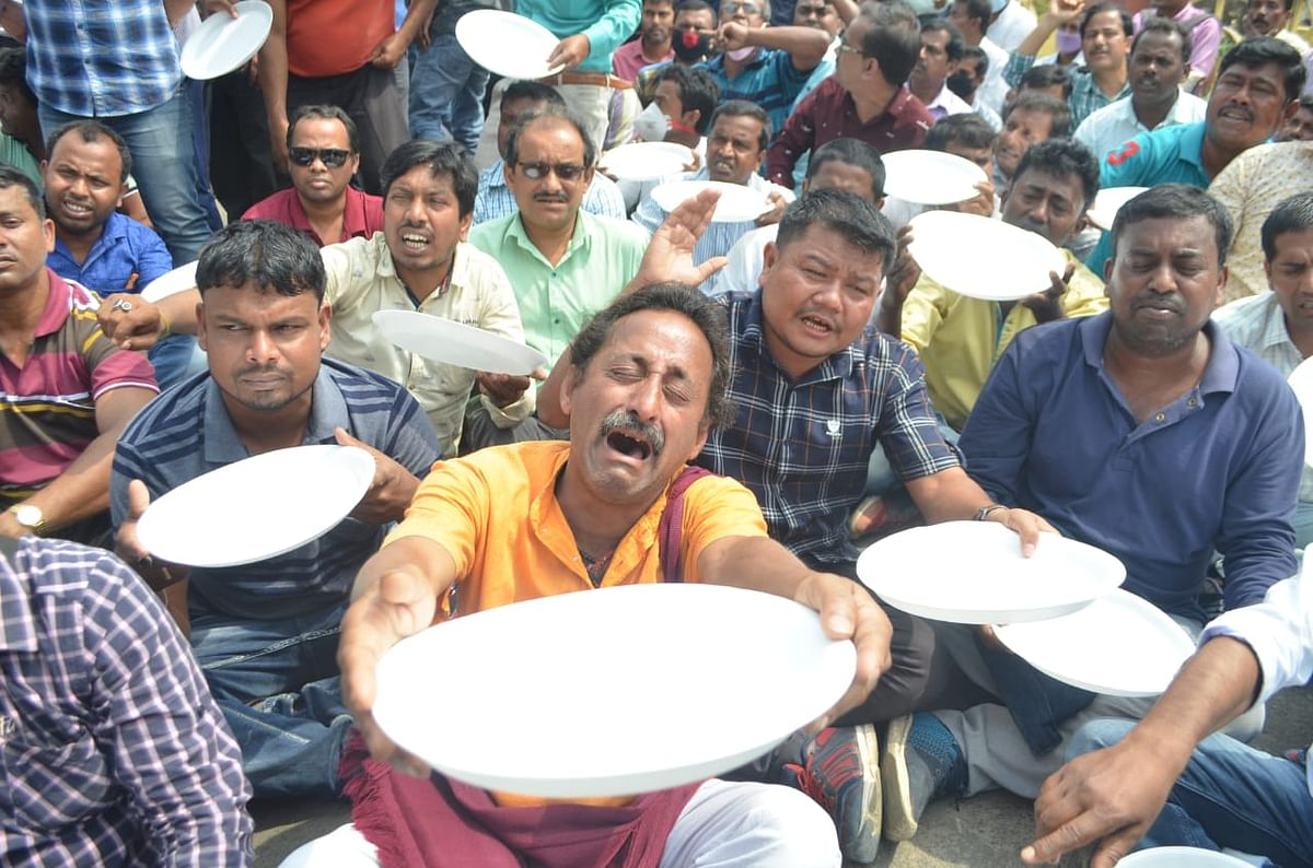 Terminated teachers under the banner of Joint Movement Committee launches indefinite sit-in demonstration in Agartala