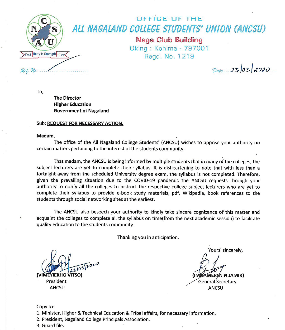 The letter that was addressed to the director of higher education, Nagaland by ANCSU on Monday