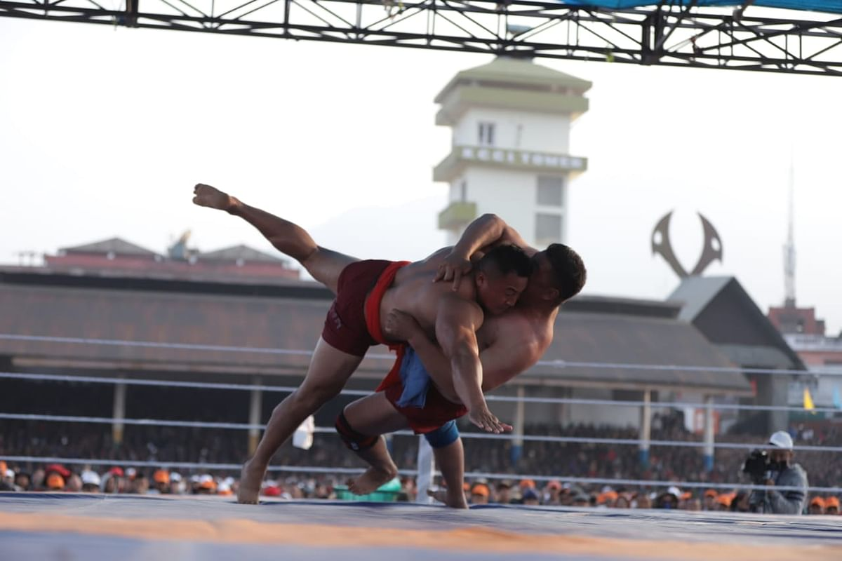 Naga wresting is a popular indigenous game among the Angami, Chakhesang and Zeliang Naga tribes