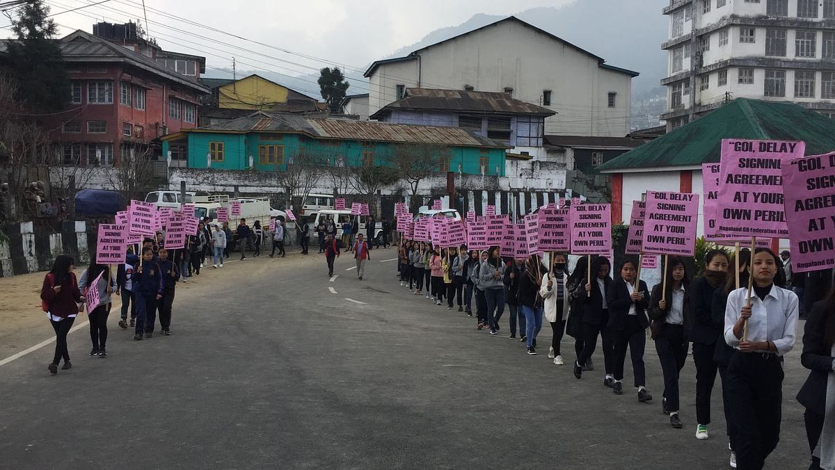 Students and tribal leaders joining the rally organised by the Kohima District GB Federation