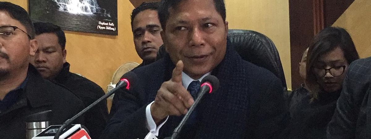 Leader of Opposition Mukul Sangma during a press briefing in Shillong on Wednesday