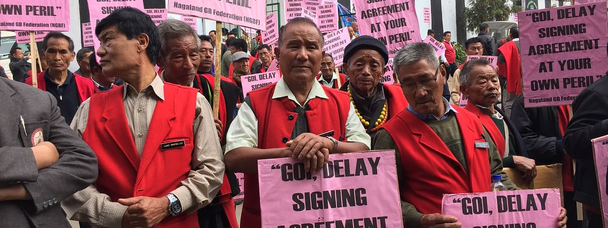 Members of the Nagaland GB Federation holding placards during the rally held in Kohima on Monday