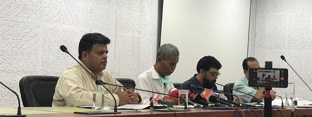 Assam food & civil supplies minister Phani Bhushan Choudhury (second from left) briefing media in Guwahati on Wednesday