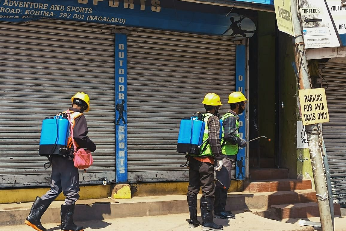 An initiative of the Kohima Municipal Council (KMC), the spraying of disinfectants began on Wednesday
