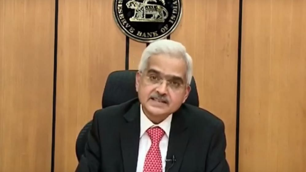 RBI governor Shaktikanta Das holding a video press conference on Friday