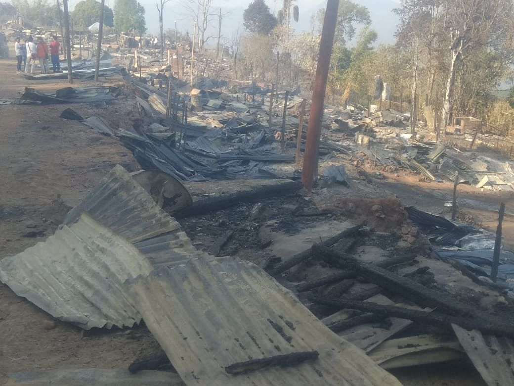 A scene after Monday's arson in Manipur's Kamjong district