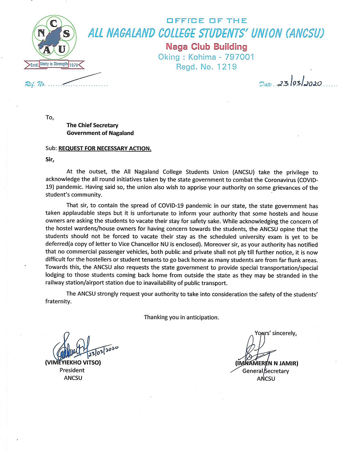 The letter that was written to the chief secretary of the state by ANCSU on Monday