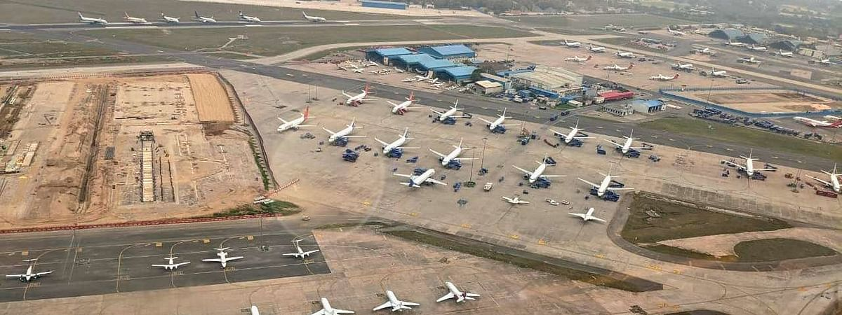 Aircraft parked on a runway in Delhi Airport