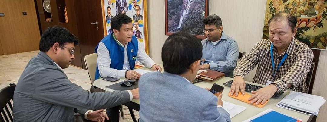 Arunachal Pradesh CM Pema Khandu taking review of the state's preparedness to prevent the spread of COVID-19 virus with officers from Integrated Disease Surveillance Programme of health and family welfare department