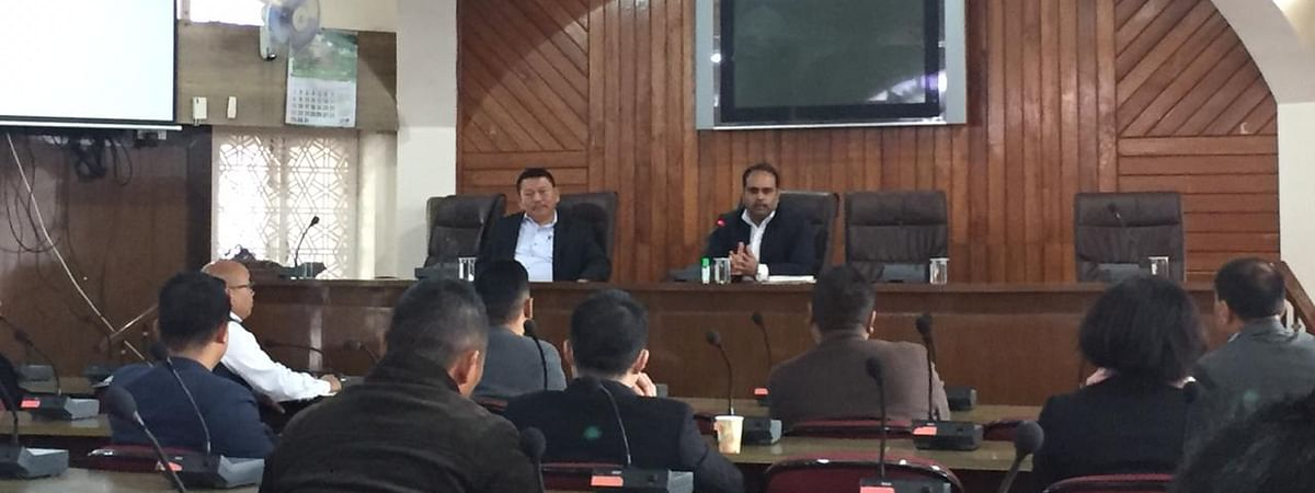 Nagaland principal secretary (home) Abhijit Sinha and Dr Vizolie Z Suokhrie addressing the emergency meeting  in Kohima on Thursday