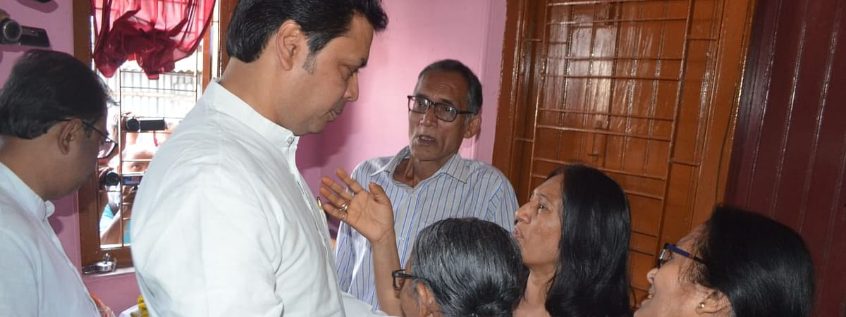 Tripura chief minister Biplab Kumar Deb visiting family members of deceased advocate Bhaskar Debroy