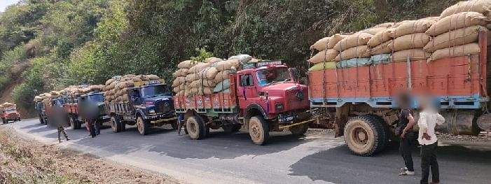 Huge quantities of betel nuts illegally smuggled from Myanmar were seized in Ukhrul