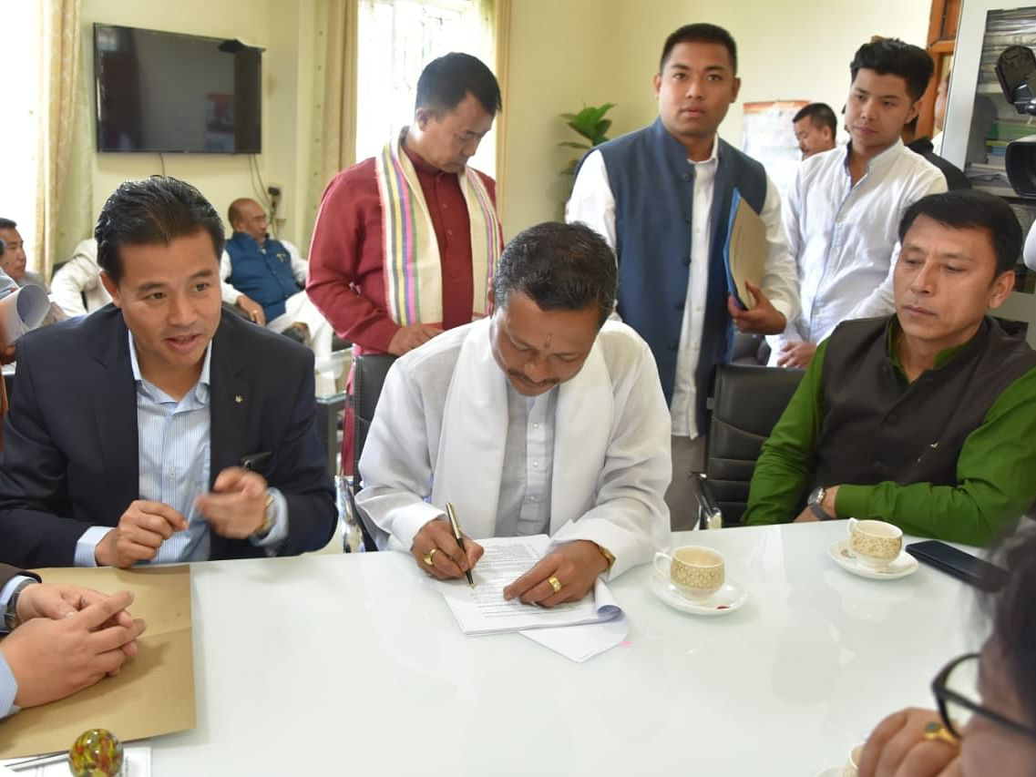 Manipur: 'Maharaja' files nomination for RS polls as BJP nominee