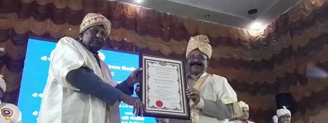 JJT University chancellor Dr Vinod Tibrewalla (left) conferring the honorary degree to Mizoram governor PS Sreedharan Pillai