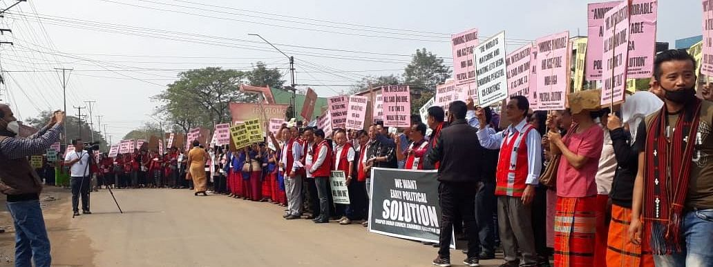 Women, students and various other tribal hohos took out a peace rally in Dimapur for early Naga political solution