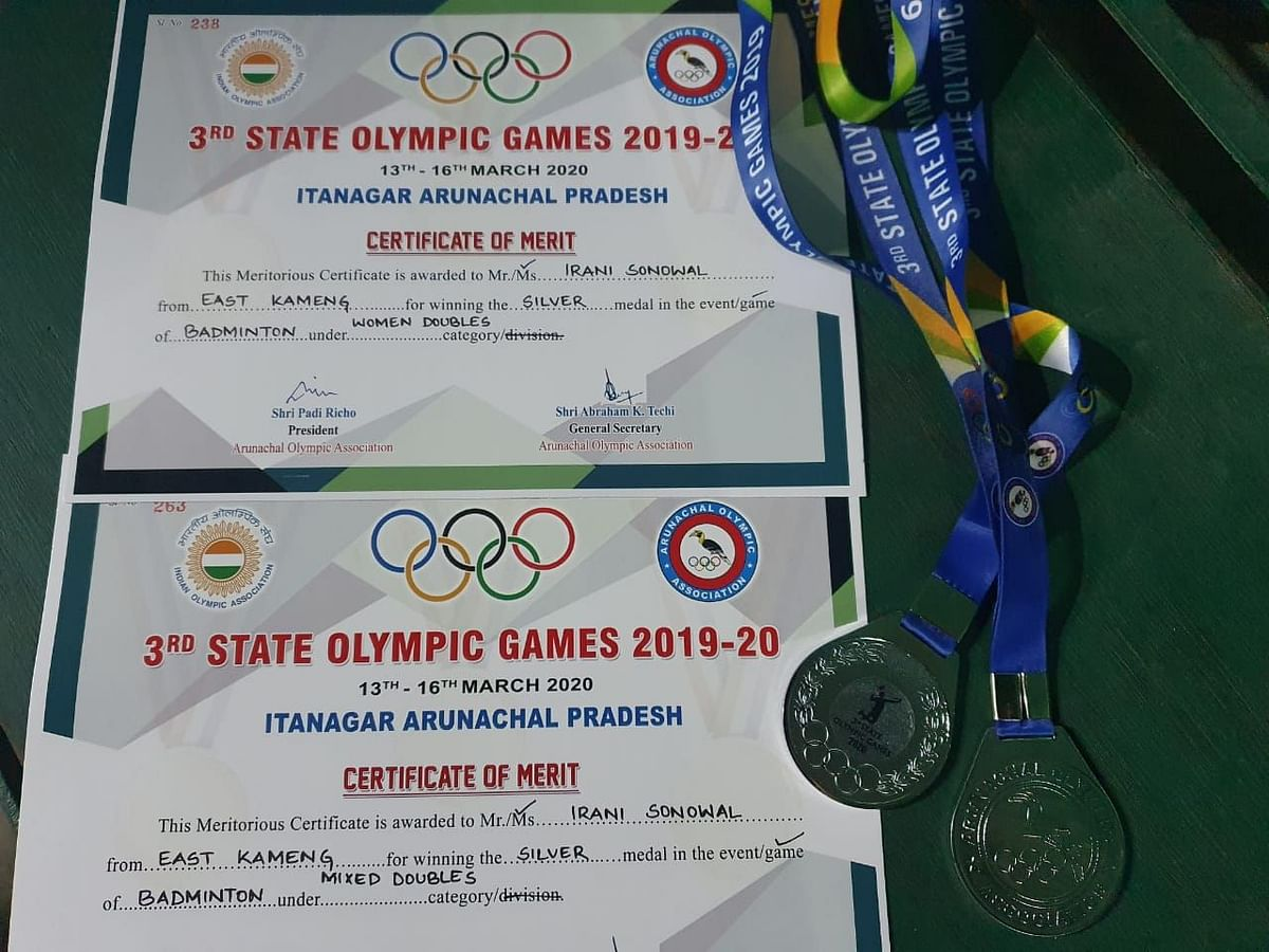 The medals and certificates won by EastMojo's Irani Sonowal Lepcha at the 3rd State Olympic Games 2020 in Itanagar, Arunachal Pradesh