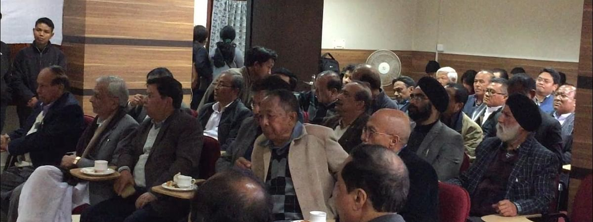 Religious heads of various communities and religions, eminent citizens and other stakeholders taking part in a peace meeting in Shillong on Tuesday