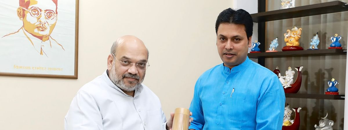 Earlier on February 7, Tripura chief minister Biplab Kumar Deb (right) met Union home minister Amit Shah in New Delhi