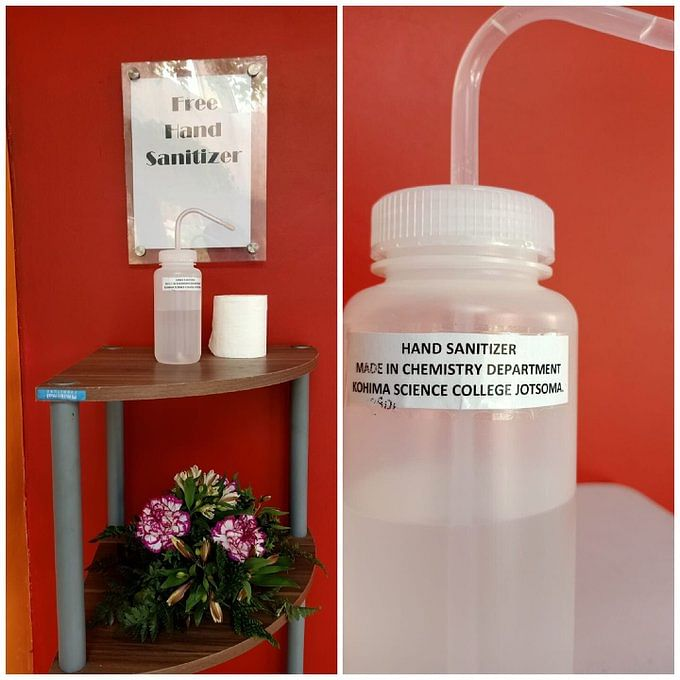 Hand sanitizers made by students being placed at RCEMPA hall in Kohima