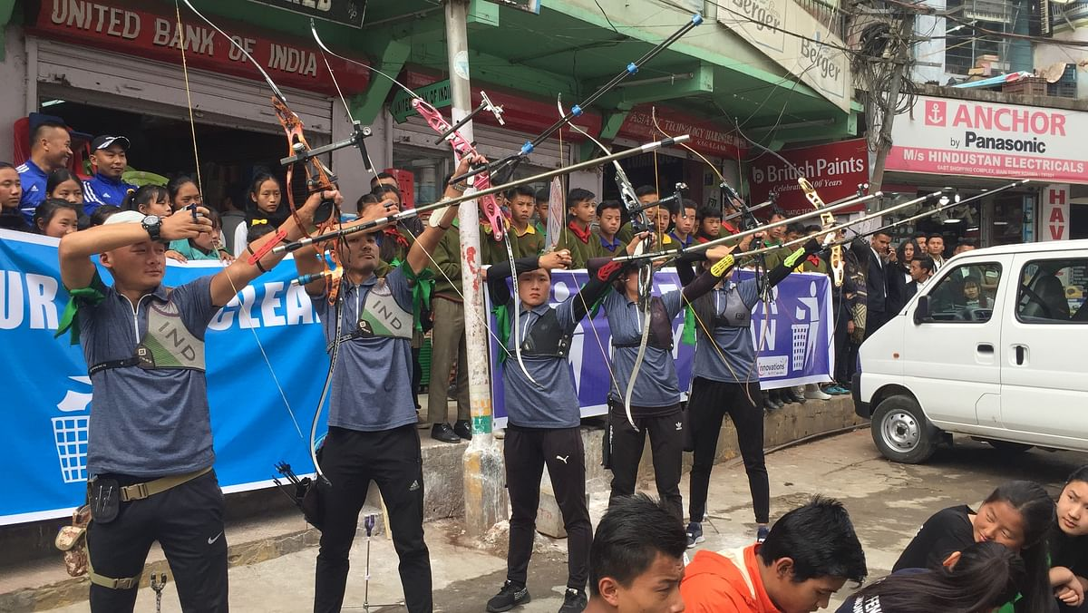 Archers from IG stadium Kohima presenting a show during the launch of the campaign