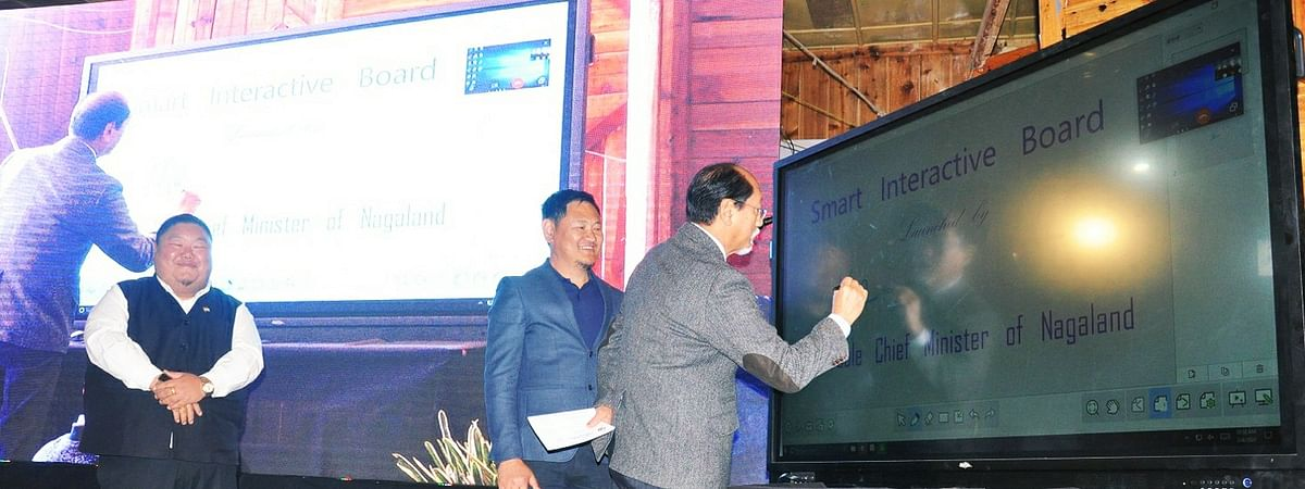 Chief minister Neiphiu Rio launching the 'digital smart boards' initiative on Wednesday