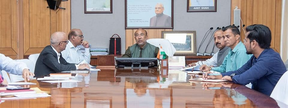 Manipur chief minister N Biren Singh along with state officials