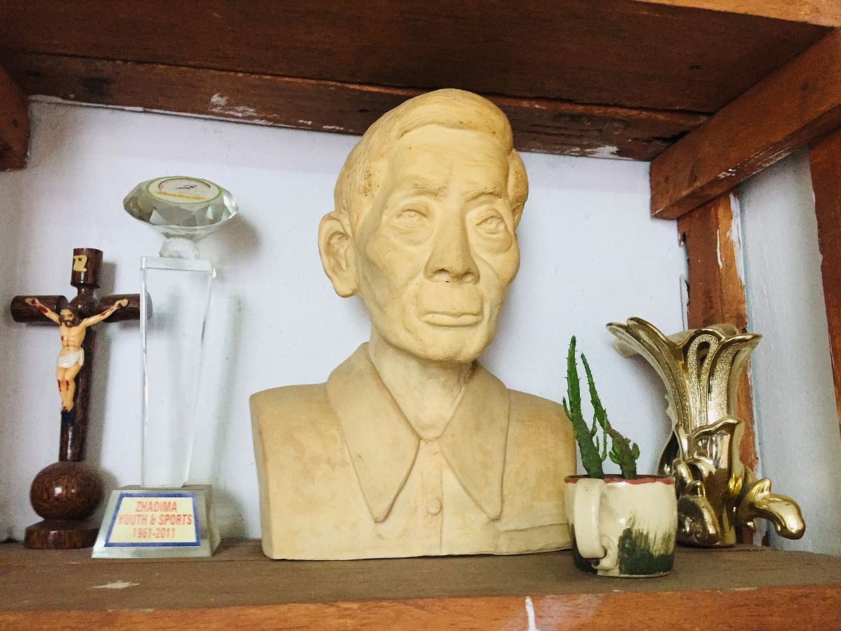 Vizonuo Soliezuo hand sculpted her grandfather's image during her training in Kolkata