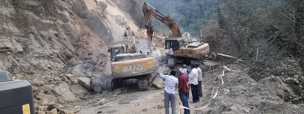 The ongoing 4-lane road construction has caused a landslide along  NH-29 near Chumoukedima police check gate