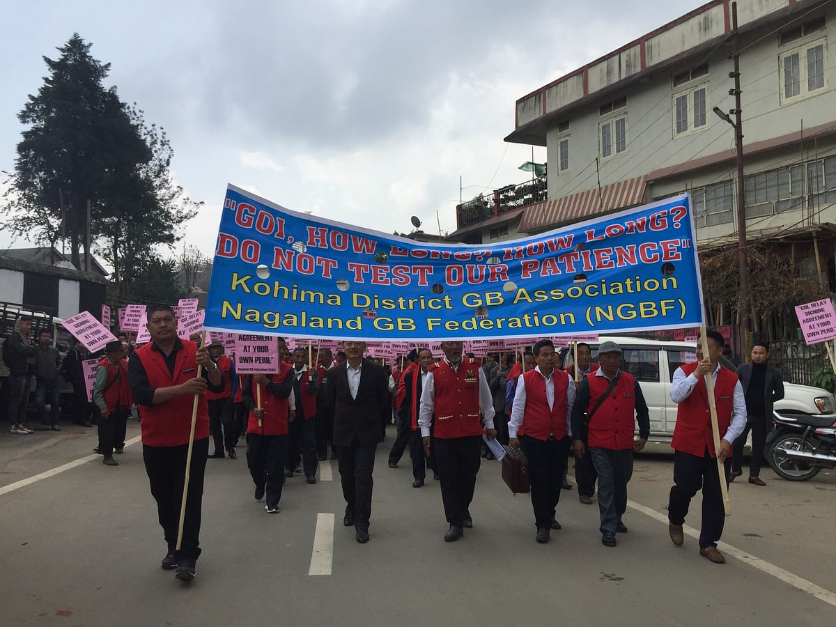 The Kohima district GBs holding banners that read 'GOI, How long? How long? Do not test our patience' during a peace rally in Kohima on Monday