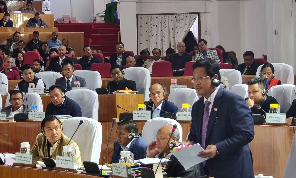 Meghalaya chief minister Conrad K Sangma at the Meghalaya Legislative Assembly while presenting the Budget Speech on Thursday