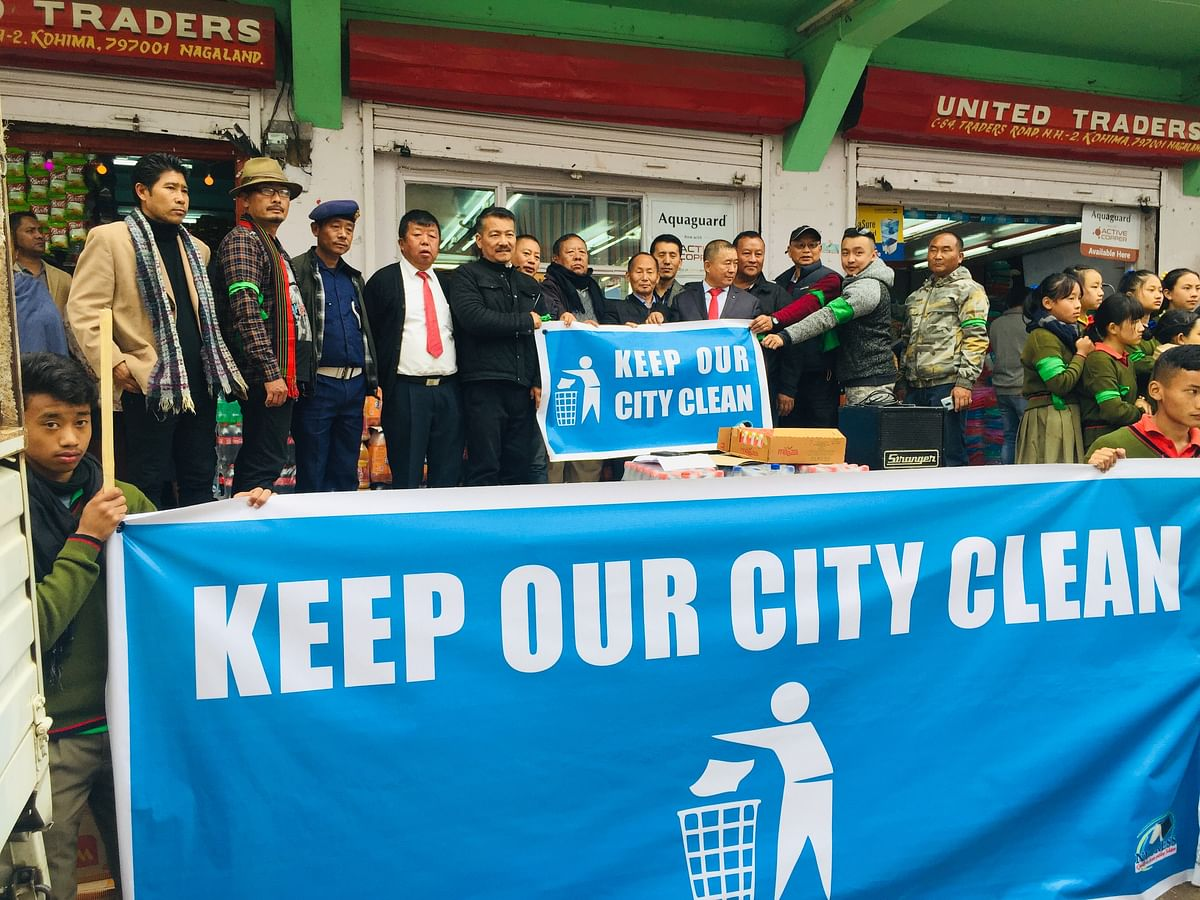 """Leading residents of Kohima take part in the launching of """"Keep our city clean"""" campaign on Friday"""