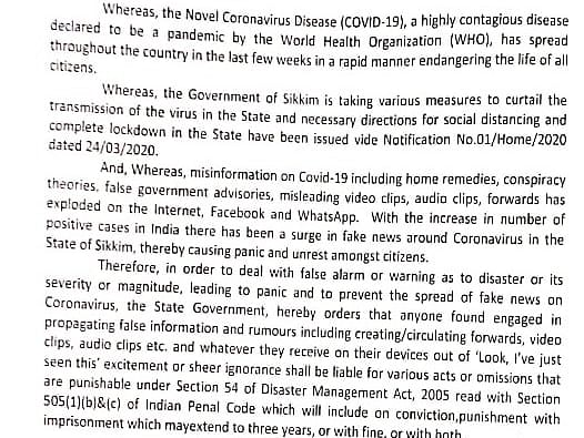 Spread rumours on COVID-19, go to jail for 3 yrs: Sikkim govt