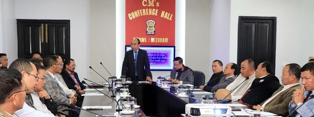 Mizoram chief minister Zoramthanga chairing an emergency meeting with top officials of the state government in Aizawl on Monday