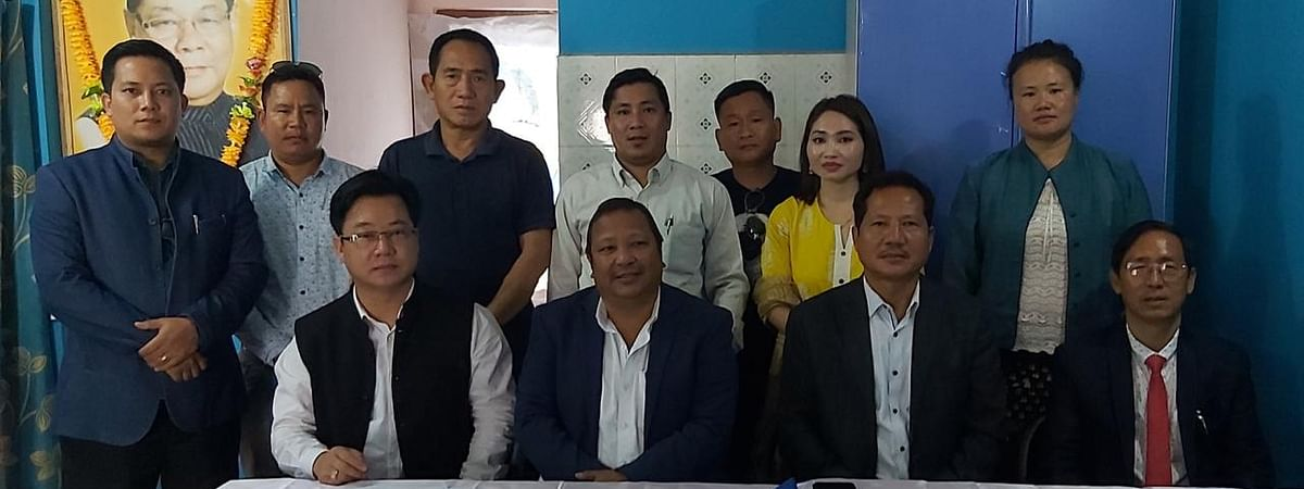 Executive members of the state unit of NPP during an emergency meeting in Itanagar on Tuesday