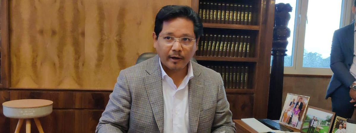 Meghalaya chief minister Conrad K Sangma during a press briefing on Friday