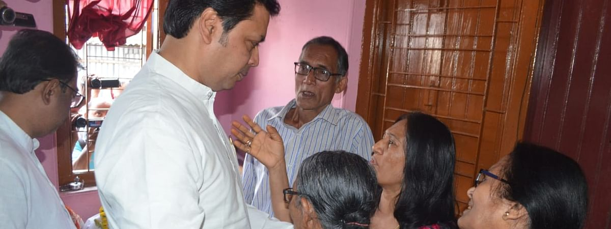 Chief minister Biplab Kumar Deb with the family members of the deceased on Tuesday