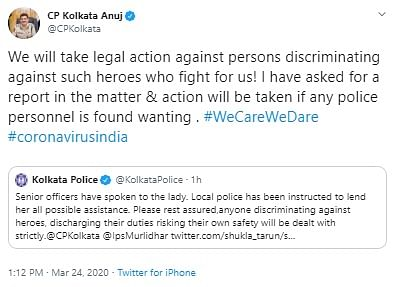 Post shared by Anuj Sharma, commissioner of police, Kolkata in response to the video of the IndiGo crew member