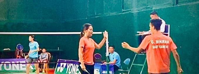 EastMojo reporter Irani Sonowal along with her partner Bikram Gurung in the mixed doubles badminton event