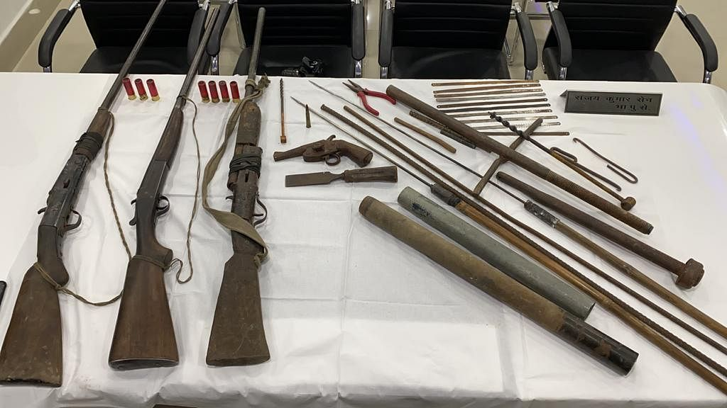 Some of the weapons recovered by the police