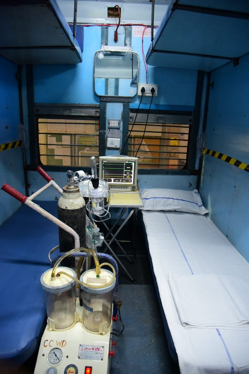 Inside a newly created isolation ward of the Indian Railways