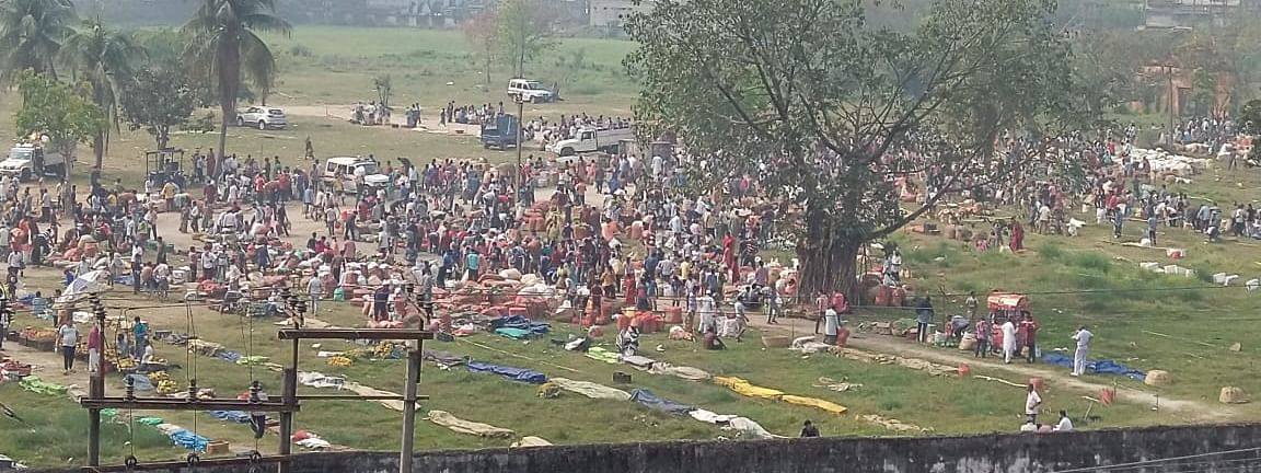 A huge crowd gathered at an open market on Jail Road in Guwahati on Friday
