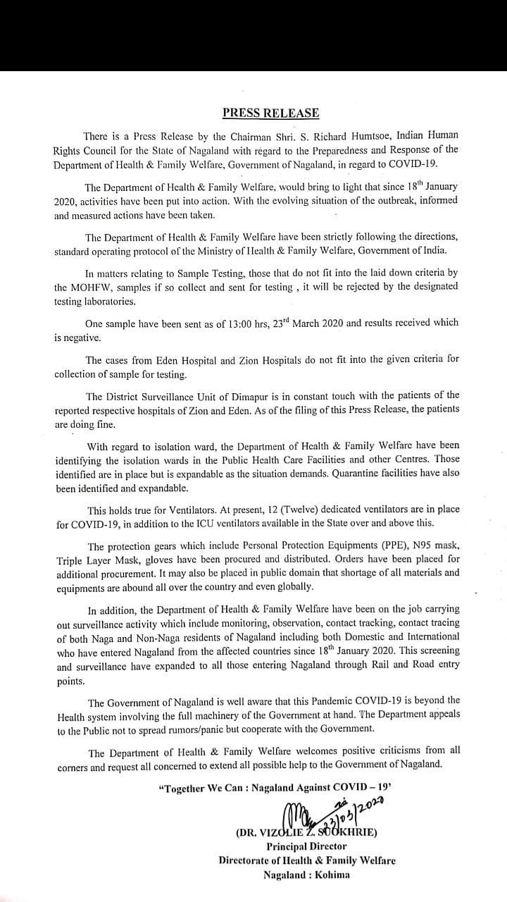 The press release that was issued in clarification to the press release issued by the chairman of Indian Human Rights Council for Nagaland on Monday