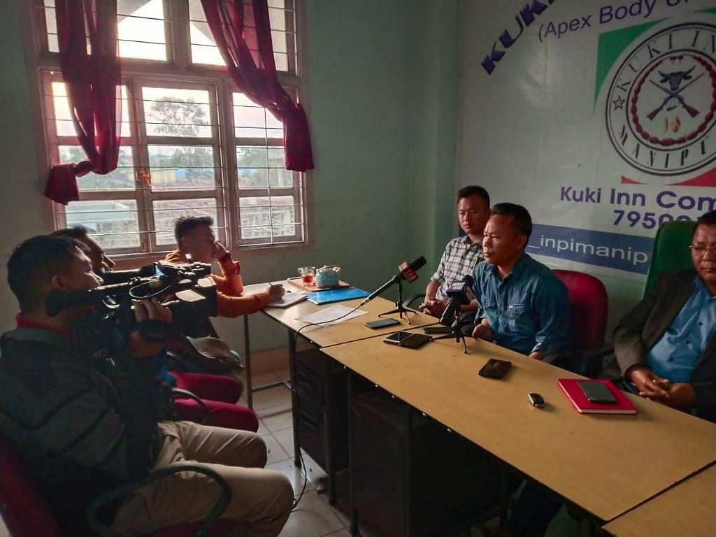 A joint press conference of Kuki Inpi Manipur (KIM) and Kuki Students' Organisation (KSO) GHQ being held in Imphal on Wednesday