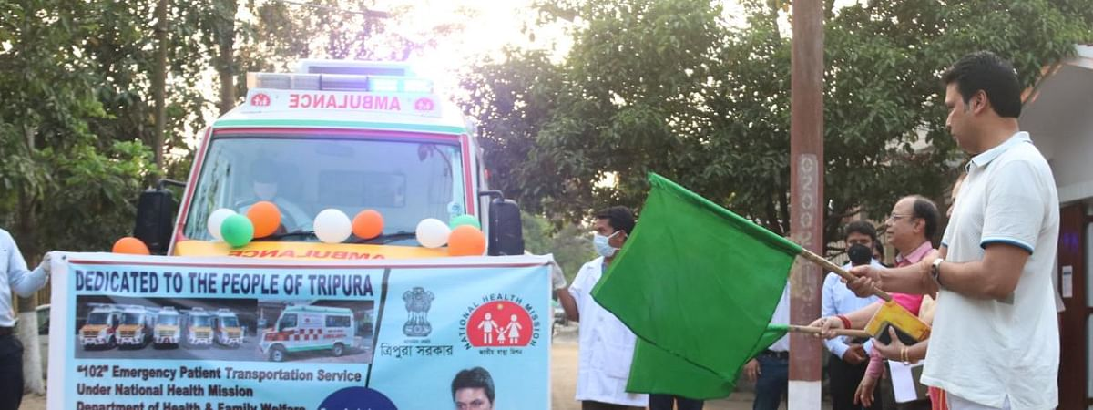 Tripura chief minister Biplab Kumar Deb flagging off 50 emergency life support ambulances in Agartala on Wednesday