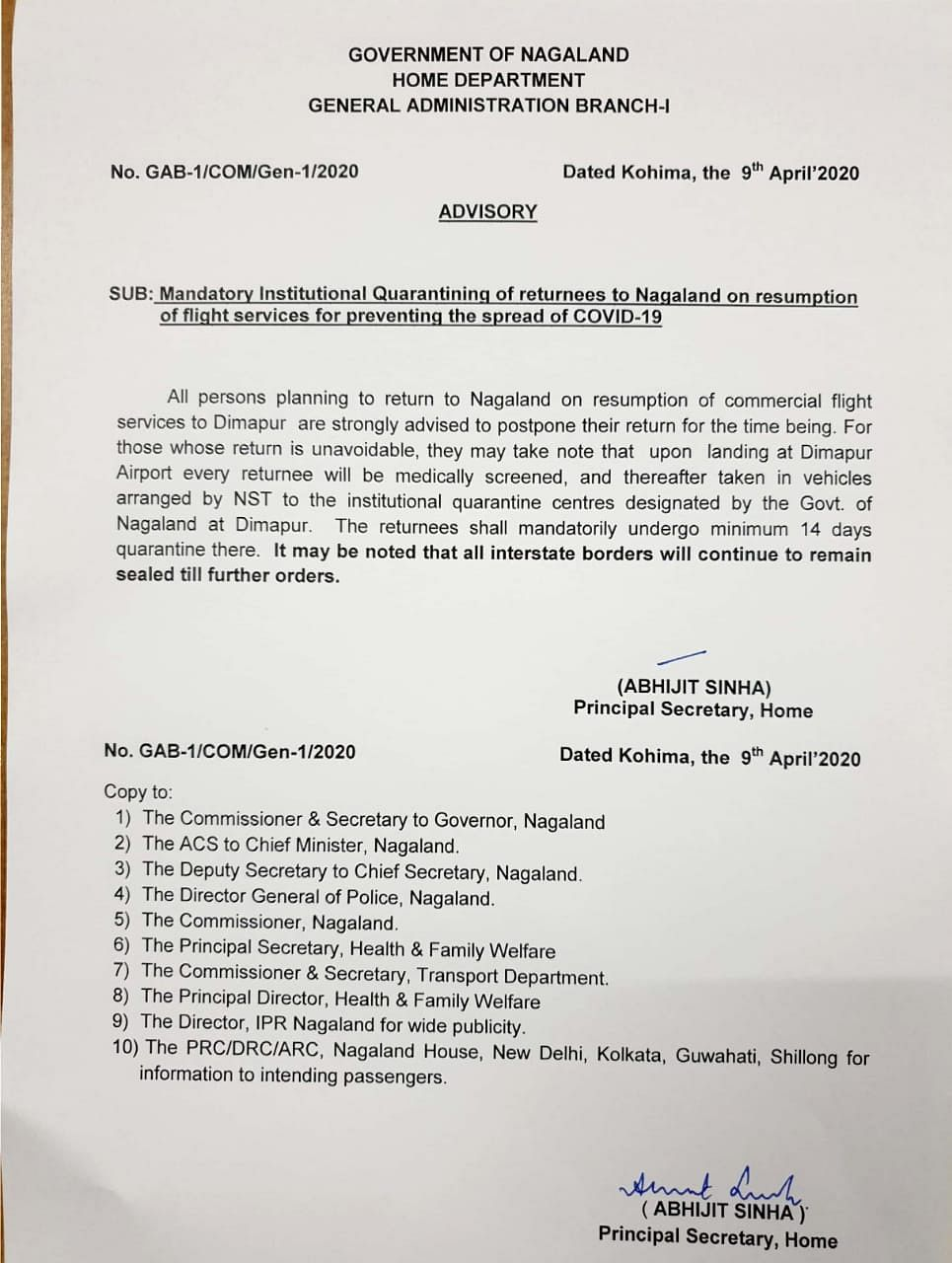 The advisory that was isuued by the home department of Nagaland