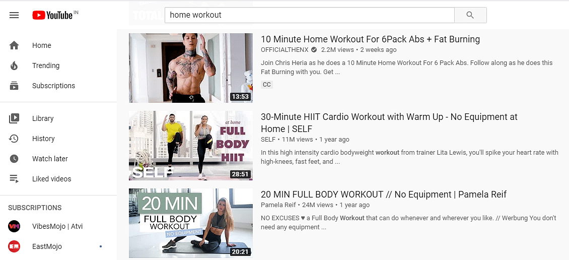 Screengrab of some home workout videos that can be found online