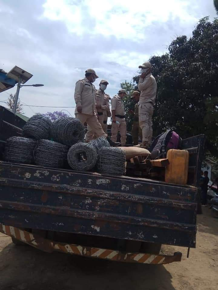 Fencing materials ready to be dispatched to border areas in Manipur