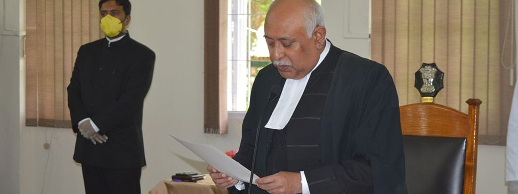 Justice Biswanath Somadder being formally sworn in  as the new Chief Justice of Meghalaya HC on Monday
