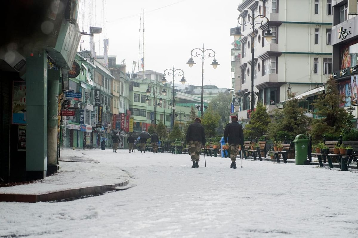 Gangtok's MG Road which is otherwise filled with tourist wears a deserted look