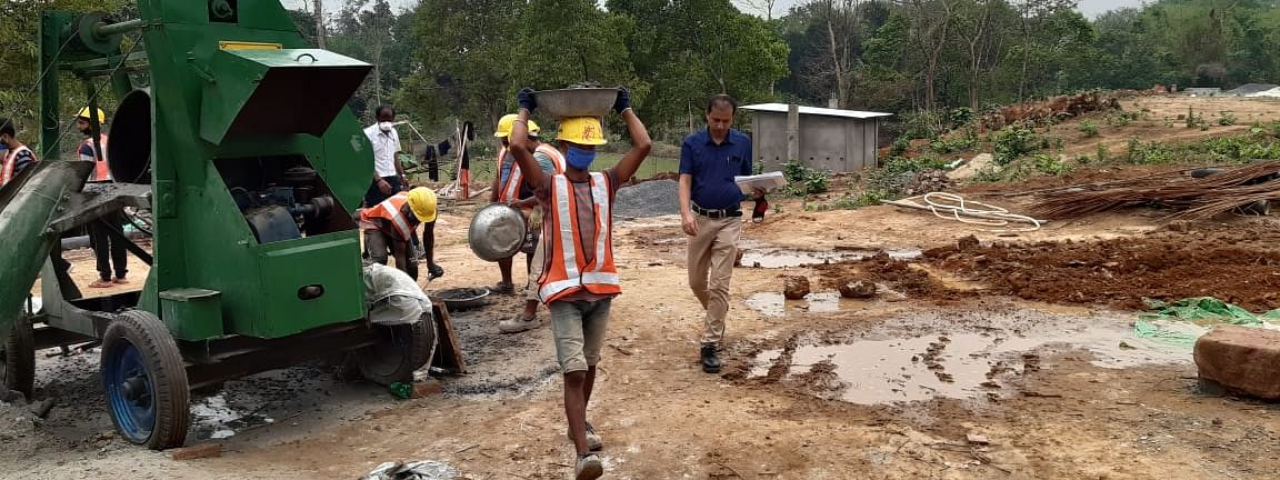 Labourers working in West Tripura district on Tuesday amid lockdown relaxation